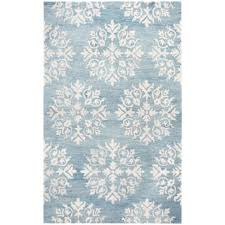 rizzy home hand tufted opulent light blue wool medallion area rug