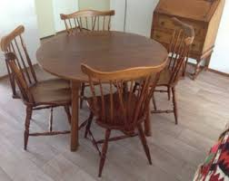 Oak Dining Table Etsy - Oak dining room table chairs