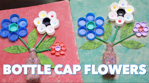 how to make bottle cap flowers craft with waste material youtube