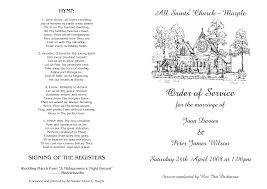 Sample Of Wedding Program Church Order Of Service Wedding Tbrb Info