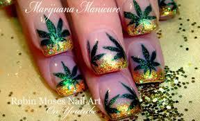 diy 420 nail art design easy marijuana manicure coachella nails