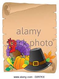 thanksgiving theme parchment 4 picture illustration stock photo