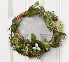 easter wreath rustic easter wreath with nest pottery barn