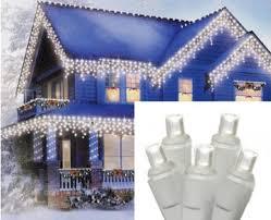 icicle christmas lights set of 70 white led icicle christmas lights white wire