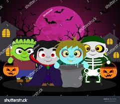 halloween background trick treat kids halloween stock vector