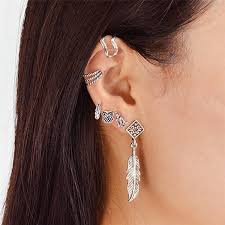best earrings for cartilage 2018 feather owl alloy cartilage earring set silver in earrings