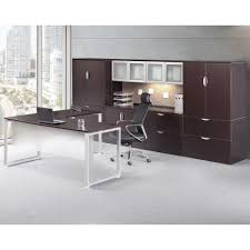 modern l shaped desk with executive hutch u0026 cabinets set