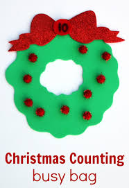 christmas counting busy bag for preschool coffee cups and crayons
