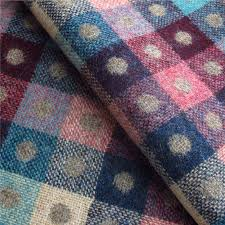 Multi Coloured Upholstery Fabric Tartan Plaid Fawn And Multicoloured Wool Curtain And Upholstery