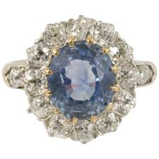 cluster rings late sapphire and diamond cluster ring for sale at 1stdibs