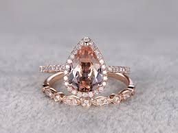 rose gold morganite wedding set 6x9mm teardrop art deco stacking
