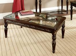 homelegance russian hill coffee table set cherry with glass