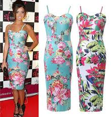 buy summer womens new celeb floral tropical print ladies bodycon