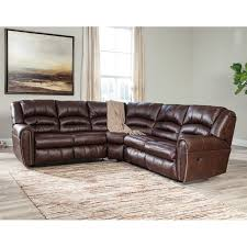 ashley manzanola 2 piece faux leather reclining sectional in