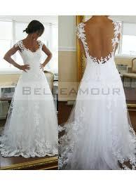 robe de mariã e dentelle dos de mariée dos nu dentelle col u longue blanche a ligne
