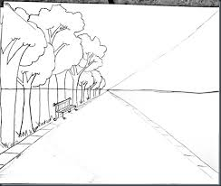 drawing steps for one point perspective with photo samples and