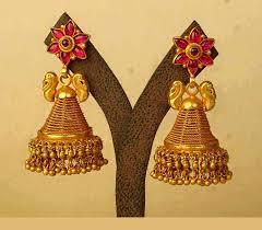 buttalu earrings gold antique jhumka design