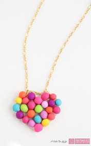 craftaholics anonymous diy mini pompom heart necklace