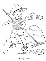 the boy raking leaves autumn coloring pages pinterest leaves
