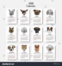 funny happy dogs calendar 2018 design stock vector 608412713