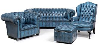 Blue Leather Chesterfield Sofa Blue Chesterfield Sofa Leather Tufted Wing Back Chairs