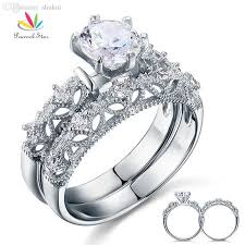 engagement style rings images Sterling 925 silver wedding engagement ring set vintage style jpg