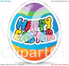 clipart colorful happy easter greeting on an egg royalty free