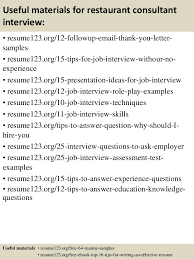 Sample Resume For Restaurant by Top 8 Restaurant Consultant Resume Samples