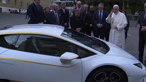 lamborghini limousine blue signed blessed delivered pope francis donates personalised