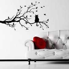 cat on a branch animal wall sticker world of wall stickers cat on a branch animal wall sticker decal a
