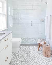 patterned bathroom floor tiles blue cabinet hardware room