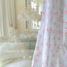 Shabby Chic Curtains Cottage White Roses Lace Netting Drapes Beaded Valance