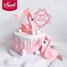 birthday cake decorations pink sitting flamingo cake decorations acrylic square cake