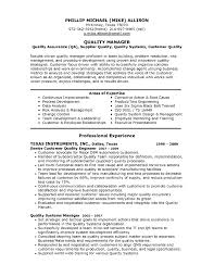 Resume Sle For quality manager resume exle products and target simple depict