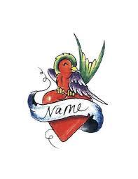 bird and heart name tattoo free design ideas