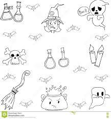 halloween doodle set witch element stock vector image 73304906