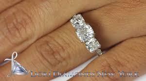 Diamond Cushion Cut Ring Er 0955 3 01 Ct E Vvs2 Three Stone Cushion Cut Diamond