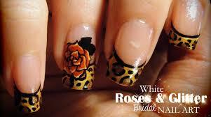 leopard u0026 roses nail art youtube