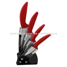 Red Kitchen Knife Block Set by 5 Pieces Best Ceramic Knife Block Set Easy To Clean Non Magnetic