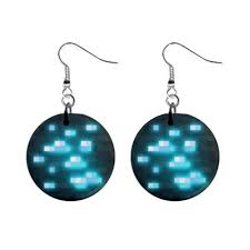 minecraft earrings minecraft diamond ore block pixel 1 button earrings fish