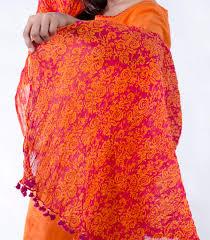 shades of orange ethnically printed patiala salwar dupatta set in shades of orange