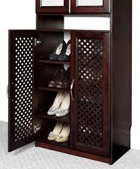 Shoe Closet With Doors Solid Wood Closets Closet Organizer Doors With Lattice Mesh