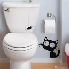 d893 funny black hanging spider and cat bathroom toilet stickers