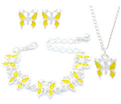 necklace gift sets images Kids children pink orange butterfly stud earrings bracelet jpg