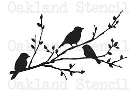 birds on a branch silhouette stencil 8 x 12 for