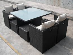 Modern Patio Dining Sets Brown Modern Outdoor Dining Set W Frosted Glass Table Top