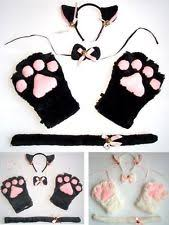 Neko Halloween Costume Pink Plush Cat Kitten Paw Claw Gloves Neko Anime Cosplay Halloween