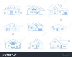 big set suburban houses front view stock vector 598857152