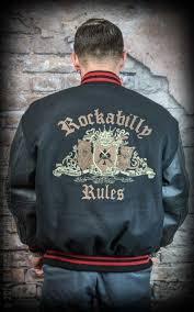 red and blue baseballjacke mit stickerei rockabilly rules