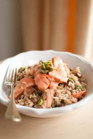 scandi home tea poached salmon with fragrant brown rice
